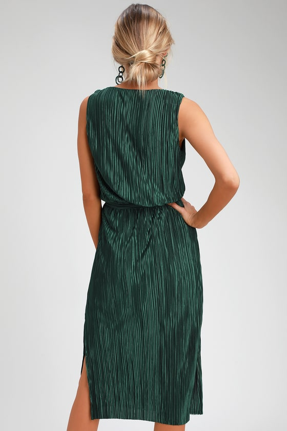 4ad9998820fb BB Dakota Happy Pleat - Teal Green Dress - Pleated Midi Dress