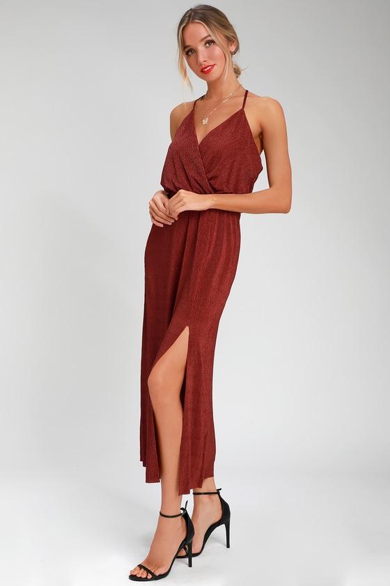 4ec2e84fb22 Cute Rust Red Dress - Rust Midi Dress - Surplice Midi Dress