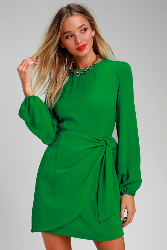 dafd49a68a95 Cute Green Dress - Long Sleeve Skater Dress - Tie-Front Dress