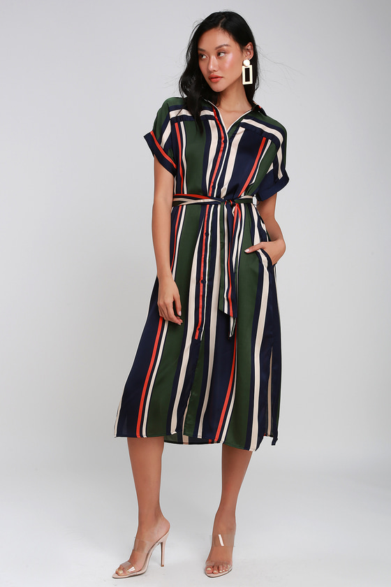 1afb66ae3 Cute Striped Shirt Dress - Blue Striped Dress - Midi Shirt Dress