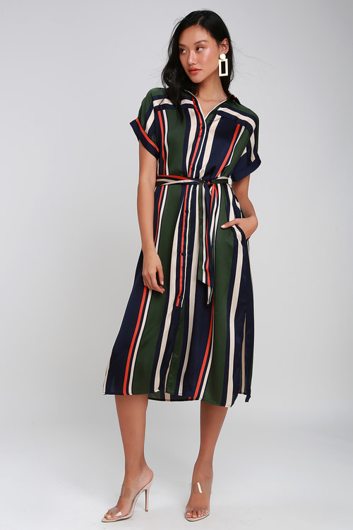 T.G.I.F. Navy Blue And Green Multi Striped Midi Shirt Dress by Lulus