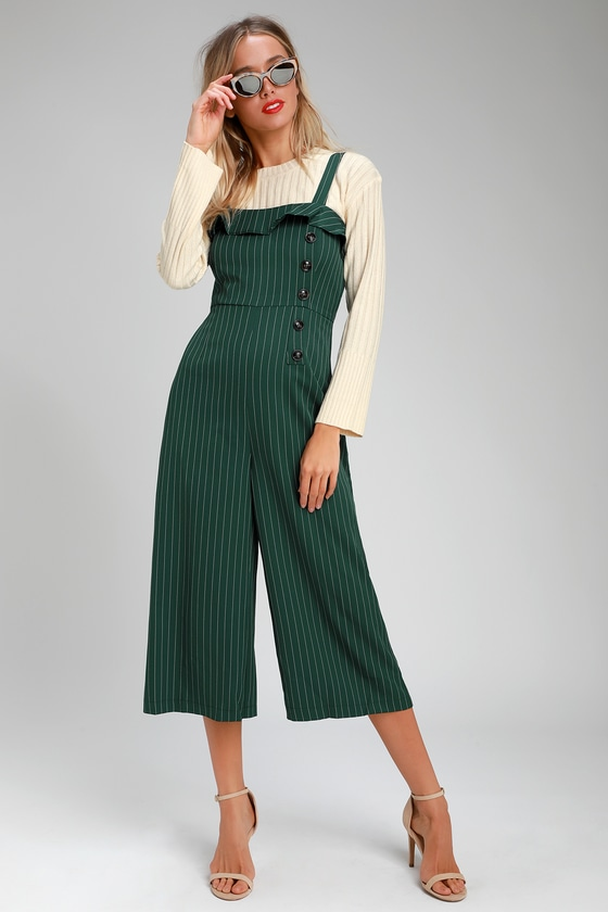 Vintage Overalls 1910s -1950s History & Shop Overalls Chantelle Forest Green Striped Culotte Jumpsuit - Lulus $24.00 AT vintagedancer.com