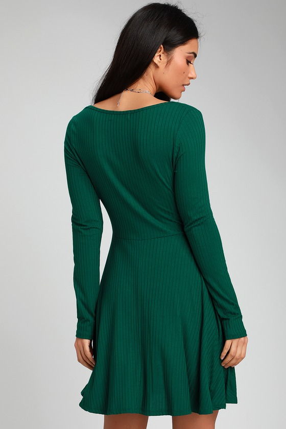 3be9112e5b6 Cute Skater Dress - Long Sleeve Skater Dress - Forest Green Dress