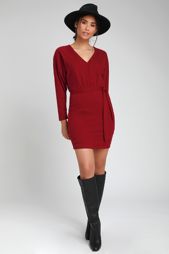 ZARIAH WINE RED RIBBED KNIT BODYCON SWEATER DRESS