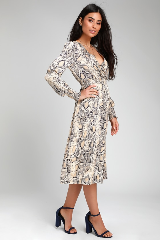 Cute Snake Print Dress Long Sleeve Dress Midi Dress