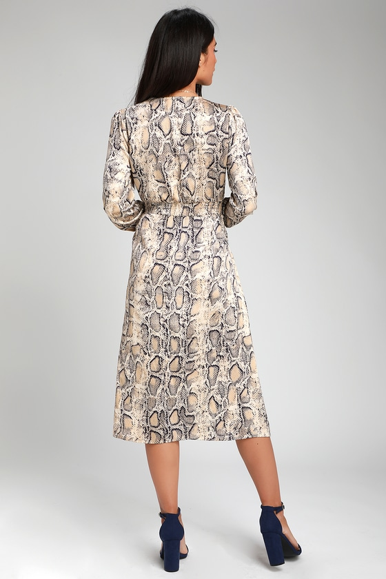 dfc71e43ae7f Cute Snake Print Dress - Long Sleeve Dress - Midi Dress