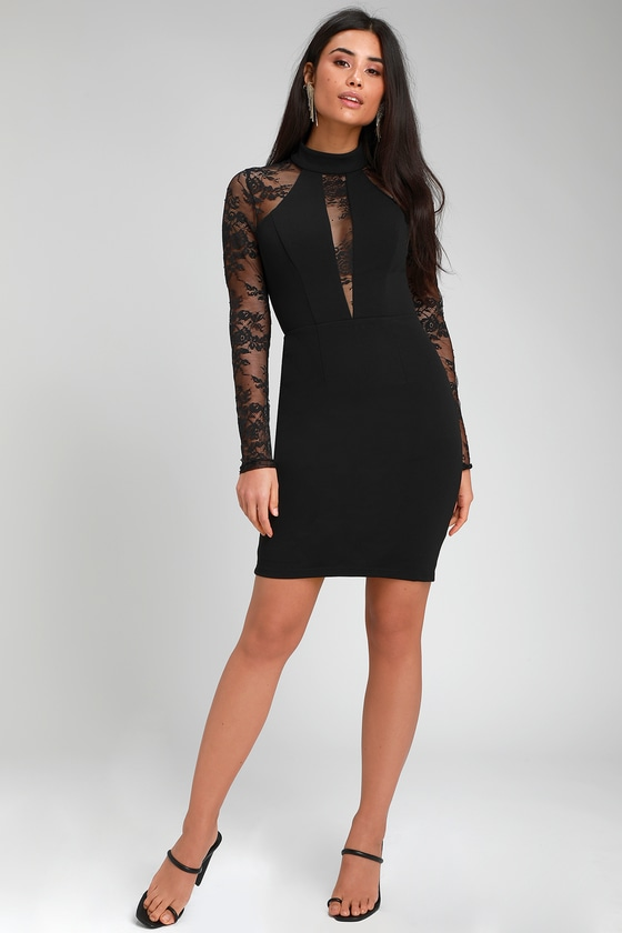5aca86d51219 Sexy Black Dress - Bodycon Dress - Lace Dress - Long Sleeve Dress