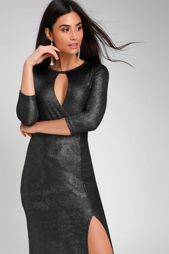 a0cfb5849b9f6 Emely Black and Silver Three-Quarter Sleeve Maxi Dress