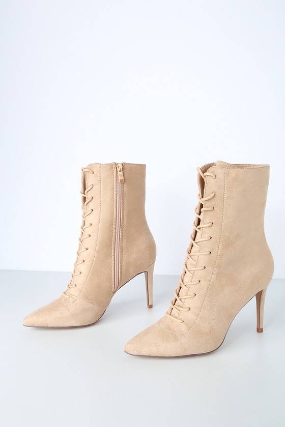 Daelyn Nude Suede Lace-Up Mid-Calf Booties