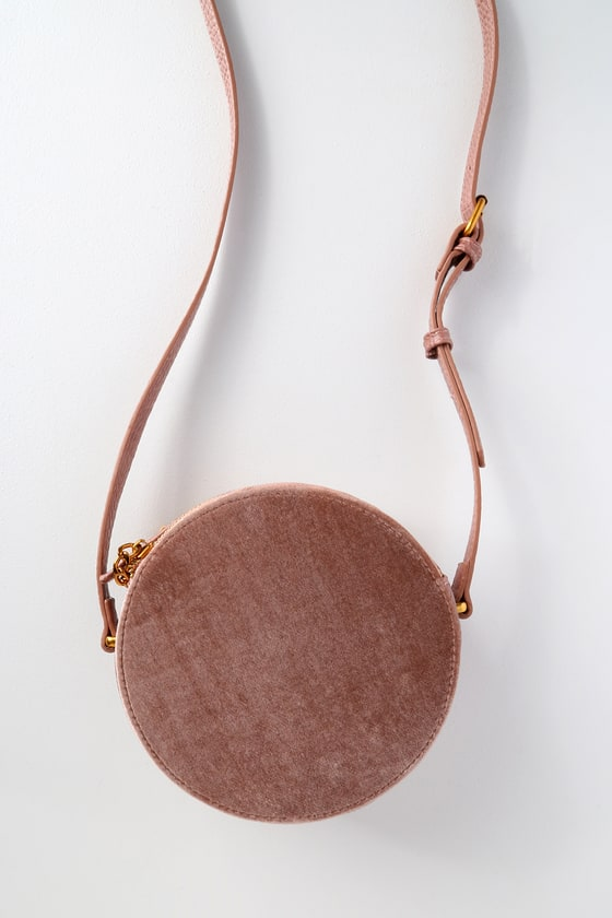 Round Of Applause Mauve Pink Velvet Circle Purse by Lulus