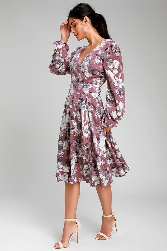 Lunette Dusty Purple Floral Print Midi Wrap Dress b0e26d84b