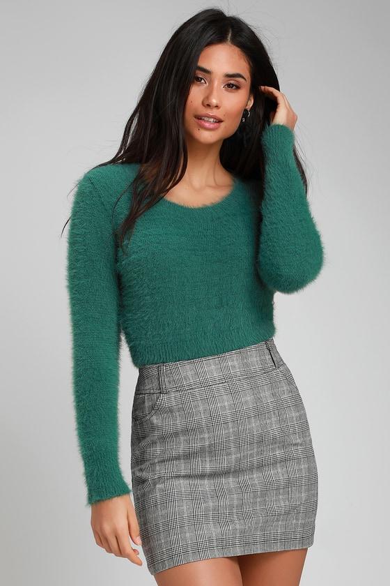bbed192a4b9e Cute Dark Green Sweater - Fuzzy Sweater - Fuzzy Cropped Sweater