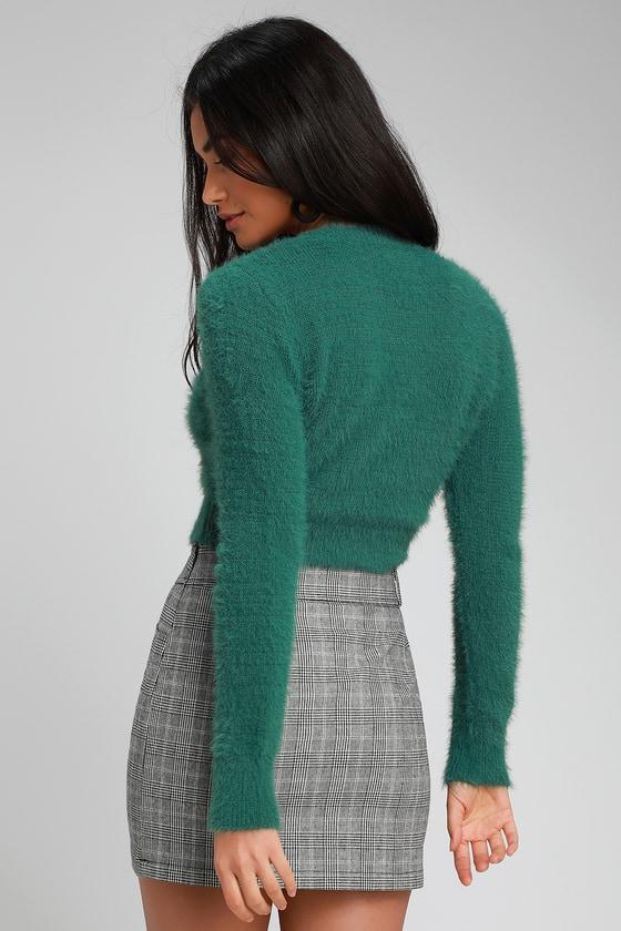 040a9b55b3690 Cute Dark Green Sweater - Fuzzy Sweater - Fuzzy Cropped Sweater