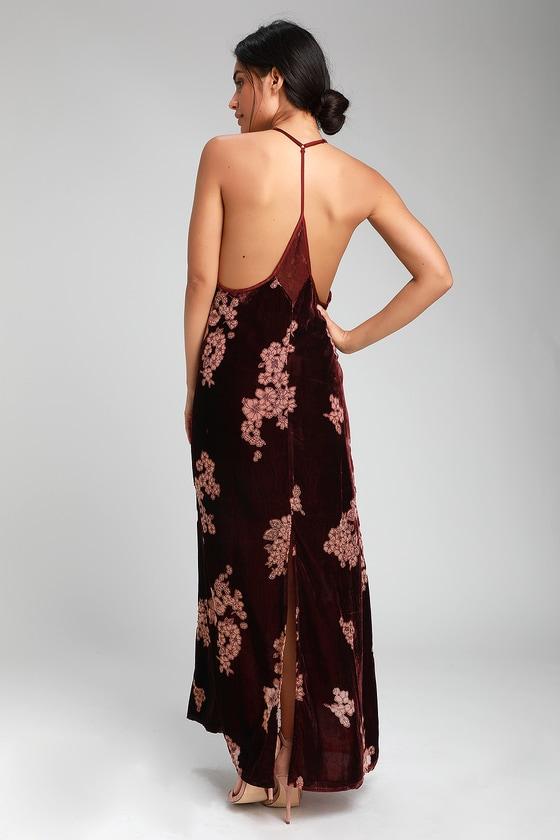 db03636fc93 Band of Gypsies Parker - Burgundy Floral Print Velvet Maxi Dress