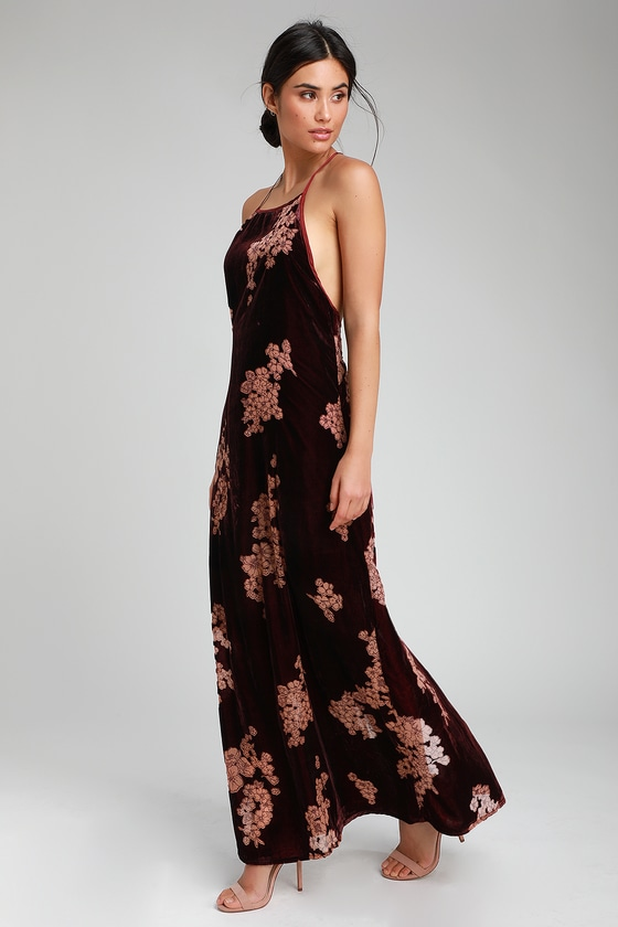 e61097253ae0 Band of Gypsies Parker - Burgundy Floral Print Velvet Maxi Dress
