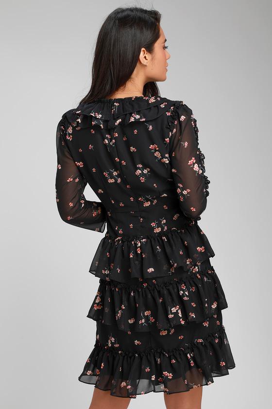 c351c535a0fd0 Pretty Black Floral Print Dress - Ruffled Dress - Mini Dress