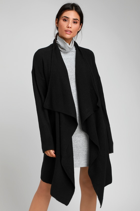 af2894e1029 Cute Black Cardigan - Draping Cardigan - Oversized Cardigan