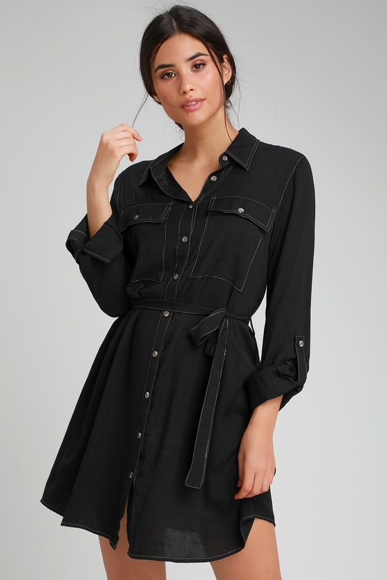 JACKSON BLACK LONG SLEEVE SHIRT DRESS