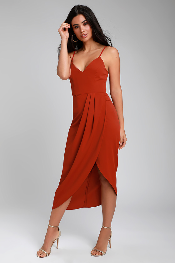 1960s – 70s Cocktail, Party, Prom, Evening Dresses Reinette Rust Red Midi Dress - Lulus $66.00 AT vintagedancer.com
