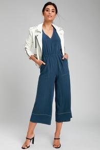 2e654743627b Orlee Dark Blue Contrast Stitch Culotte Jumpsuit