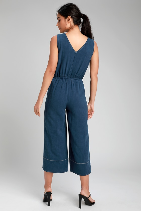 85f181f12c6 Dark Blue Contrast Stitch Jumpsuit - Culotte Jumpsuit - Jumpsuit