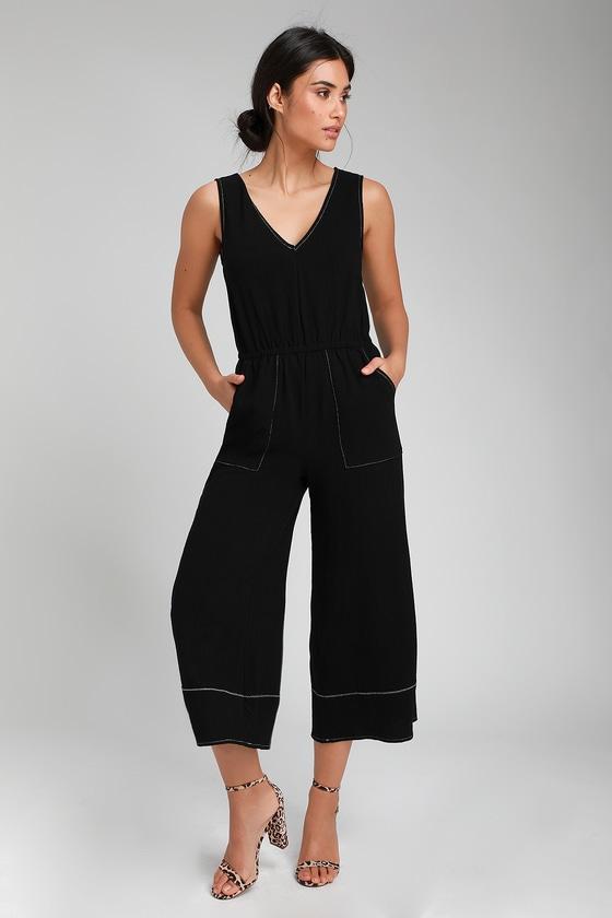 1dfaa4c8efe Cool Black Contrast Stitch Jumpsuit - Culotte Jumpsuit - Jumpsuit