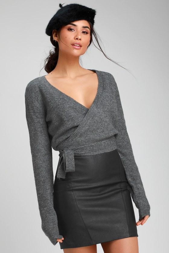 6e8e80e2f48 RVCA The Fuz - Charcoal Grey Wrap Sweater - Wrap Sweater Top