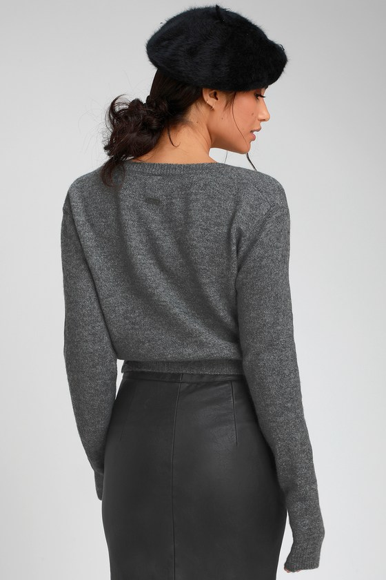 RVCA The Fuz - Charcoal Grey Wrap Sweater - Wrap Sweater Top 07b3d2085