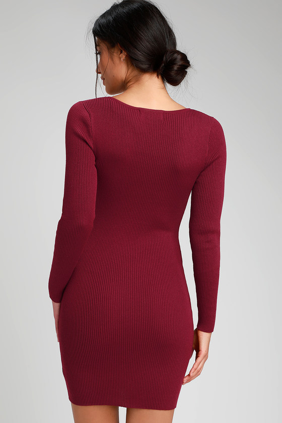 3d771603b4 Sexy Wine Red Dress - Zip Front Dress - Ribbed Sweater Dress
