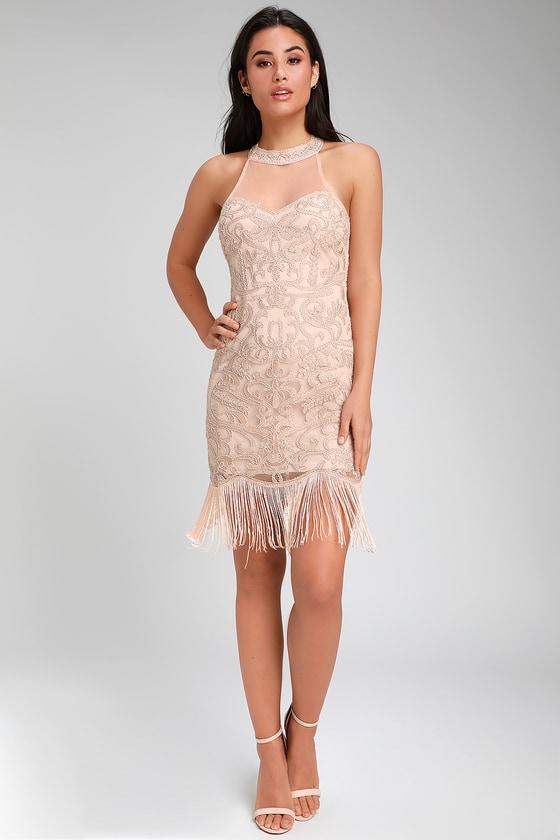 Sexy Blush Pink Dress Fringe Dress Blush Beaded Dress