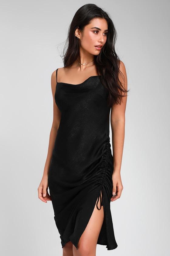 28b202ada306f Lovely Black Satin Dress - Ruched Midi Dress - Midi Slip Dress