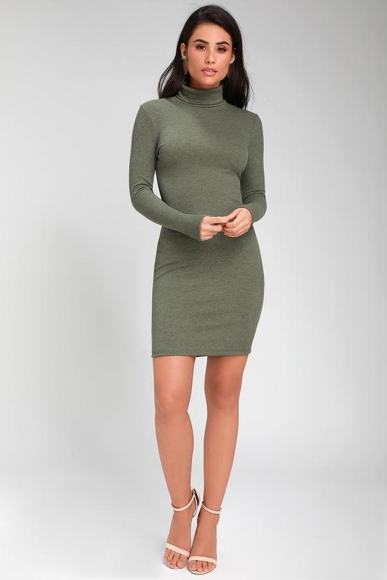 af0249eb7892 Olive Green Dress - Turtleneck Dress - Long Sleeve Bodycon Dress