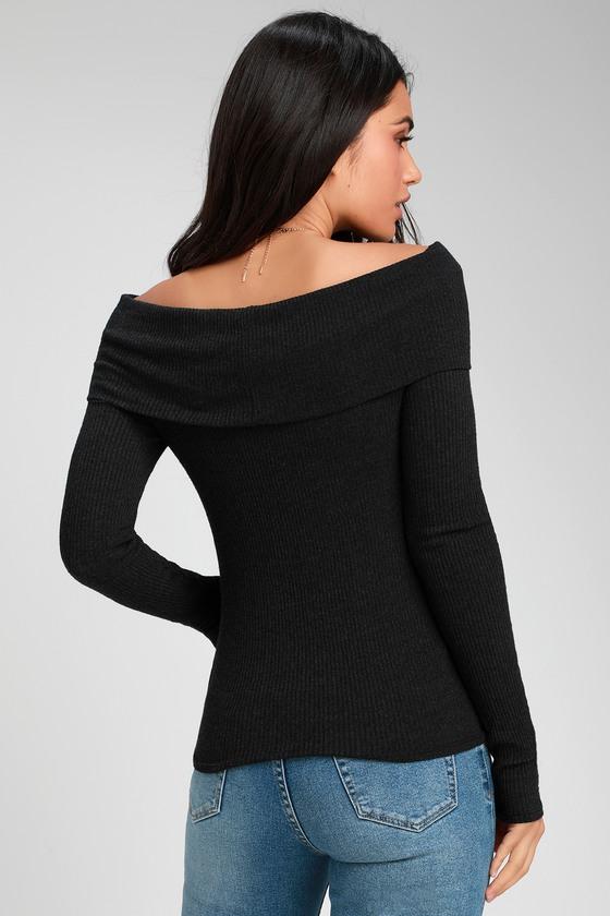 b1aa89e3e4b82 Bonita Washed Black Ribbed Off-the-Shoulder Long Sleeve Top