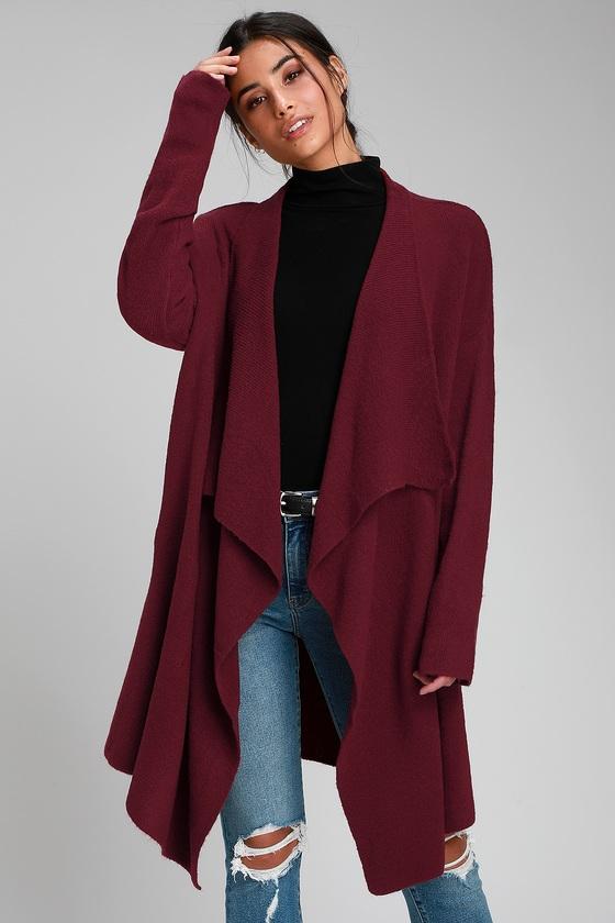 871493a200a Cute Burgundy Cardigan - Draping Cardigan - Oversized Cardigan