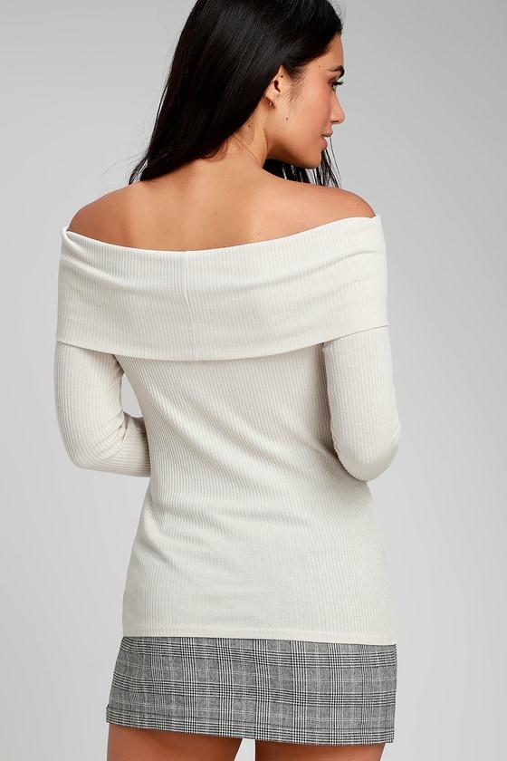 3831f22f79a7d Project Social T Bonita - Cream Top - Off-the-Shoulder Top
