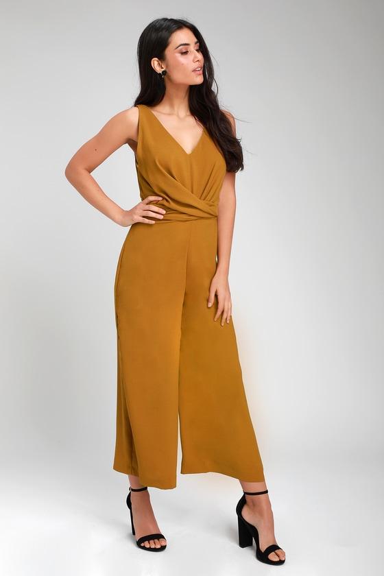 7d75681eff94 Mustard Yellow Jumpsuit - Twist-Front Jumpsuit - Culotte Jumpsuit