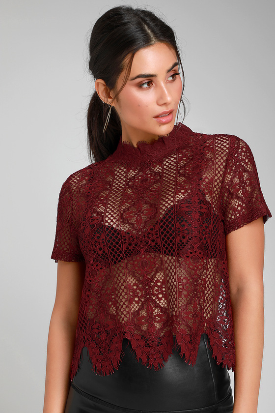 060a89921030d1 Pretty Burgundy Lace Top - Lace Crop Top - Short Sleeve Lace Top