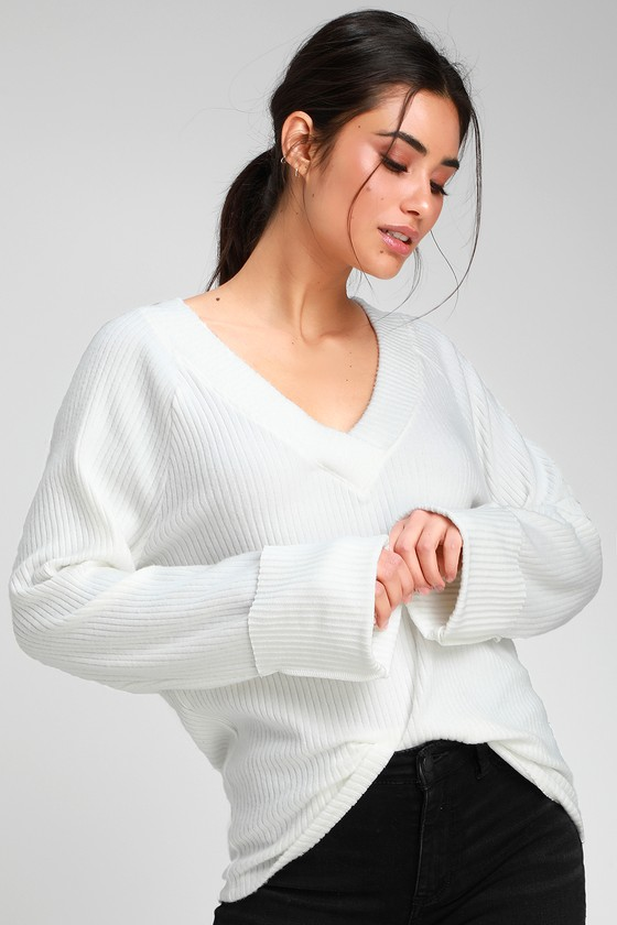 4efdbee21eb7a Project Social T Shea - Ivory Sweater Top - Ribbed Sweater