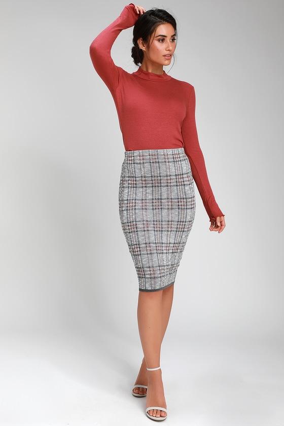 dc8a764eea Chic Plaid Skirt - Ribbed Knit Skirt - Bodycon Skirt - Midi Skirt