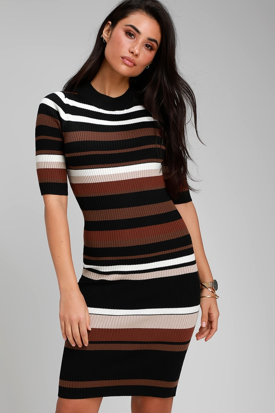 ec5aa76b768 Cute Striped Bodycon Dress - Sweater Dress - Black Multi Dress