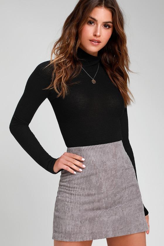 9567bcbfaf44 Cute Light Grey Skirt - Grey Mini Skirt - Corduroy Mini Skirt