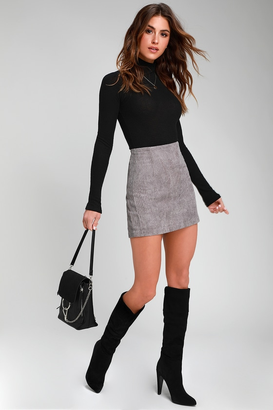 High Class Light Grey Corduroy Mini Skirt