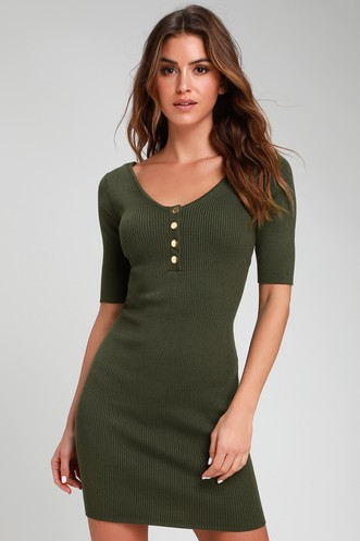 4ed83a7e8ca Trend and Snap Olive Green Ribbed Bodycon Sweater Dress
