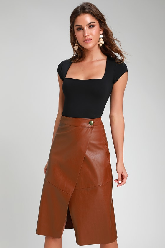 60s Skirts | 70s Hippie Skirts, Jumper Dresses New Orleans Camel Vegan Leather Wrap Midi Skirt - Lulus $56.00 AT vintagedancer.com