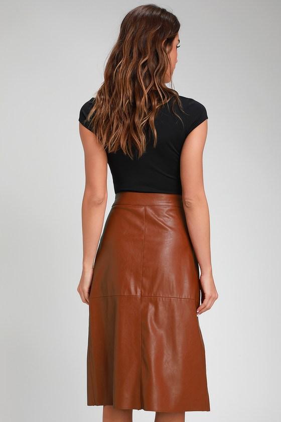 413d214cce Chic Camel Skirt - Vegan Leather Skirt - Wrap Skirt - Midi Skirt