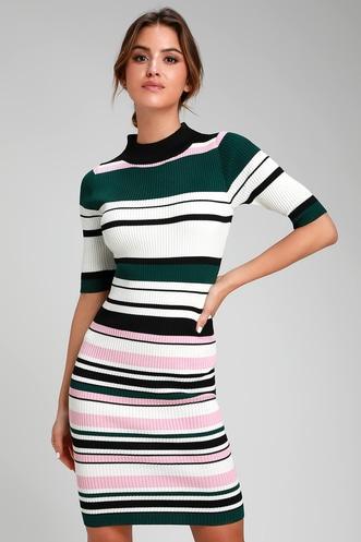 e4bd06fe28c I Like It White Multi Stripe Ribbed Bodycon Midi Sweater Dress