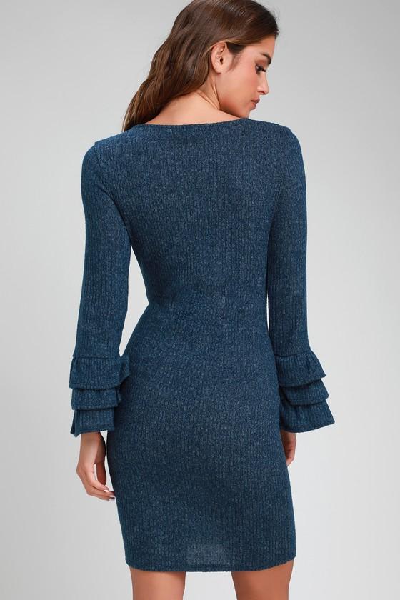 bfa92e78c7 Rooney Heather Navy Blue Flounce Sleeve Bodycon Sweater Dress