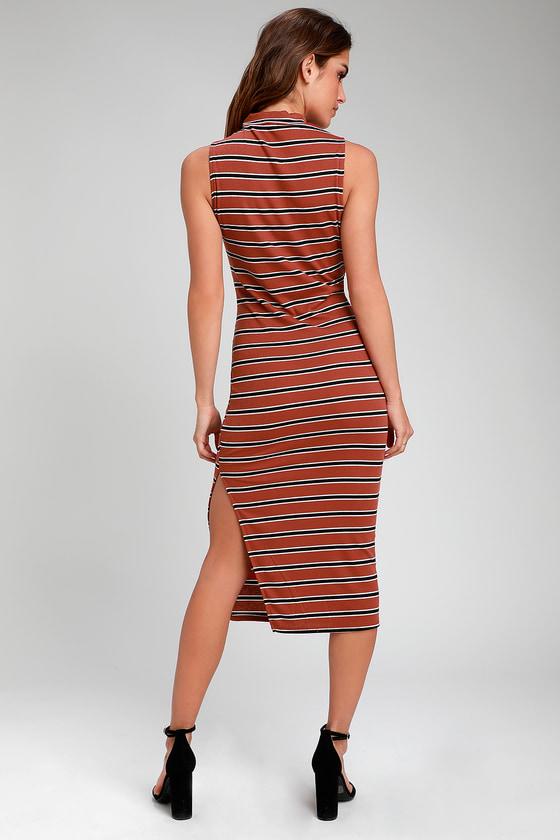 f4e754110d Cute Rust Red Striped Dress - Mock Neck Dress - Sheath Midi Dress