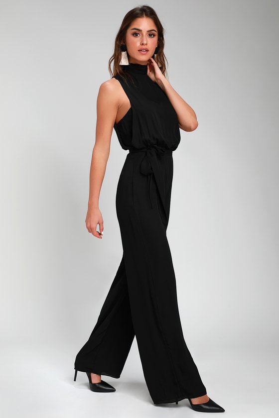 84ef257f55ce Chic Black Jumpsuit - Backless Jumpsuit - Mock Neck Jumpsuit