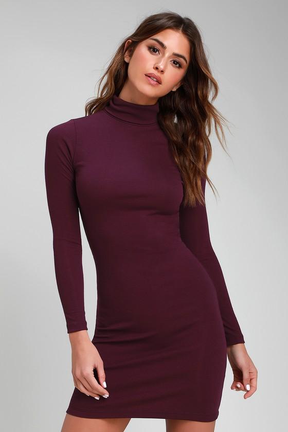 Shoulder surgery long sleeve bodycon dress purple
